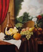 tableau nature morte fruits carafe : nature morte aux oranges